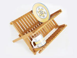 Home Basics DD01018 Dish Drainer Foldable Bamboo,