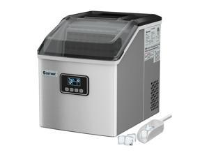 Stainless Steel Ice Maker Machine Countertop 48Lbs/24H Self-Clean w/ LCD Display