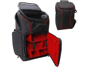Digital SLR Camera Backpack (Red) w/Padded Custom Dividers, Tripod Holder, Laptop Compartment, Rain Cover and Accessory Storage by USA Gear for DSLR Cameras by Nikon, Canon, Sony, Pentax & More