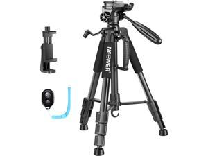"""Neewer 56"""" Aluminum Camera Tripod with 3-Way Swivel Pan Head, Cellphone Holder, Bag for iPhone, Samsung, Huawei Smartphone, DSLR Camera, Load up to 8.8 Pounds Black (SAB234)"""