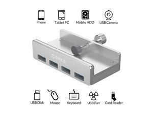 ORICO USB 3.0 HUB, Monitor-Edge and Desk-Edge USB 3.0 4-Port Clip-Type Hub, Extra Power Supply, Space-Saving, Compact USB 3.0 Clamp Hub, Ultra-Portable Travel Hub for Laptop