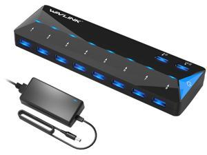 Wavlink 10-Port USB 3.0 Hub with 2x1.5A Fast USB Charging Port, 48W Power Adapter, Peripheral Sharing Switch, LED indicators, USB3.0 Splitter Up to 5Gbps for Android, Apple iOS, Windows Mobile Devices