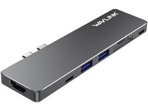 "Wavlink Aluminum USB-C Hub Adapter for both 13"" and 15"" MacBook Pro, Thunderbolt 3 Mini Dock - 5K 40GbS, 4K HDMI, Pass-Through Charging, USB-C Port, 2 USB 3.0, SD/Micro SD Card Reader - Gray"