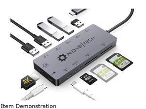 NOV8Tech USB C Hub Type C Docking Station Adapter 11-in-1 4K HDMI, 100W PD Charger, USB C, RJ45 Ethernet, 2xSD, Micro SD, 2X USB 3.0, 3X USB 2.0 Nintendo Switch, MacBook Pro Air, XPS, HP & More