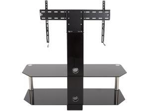 """AVF SDCL1140-A Stand with TV Mount for TVs up to 65"""", Black Glass, Chrome Legs"""