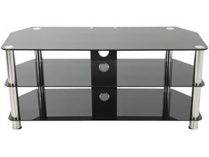 """AVF SDC1140CM-A TV Stand with Cable Management for up to 55"""" TVs, Black Glass, Chrome Legs"""