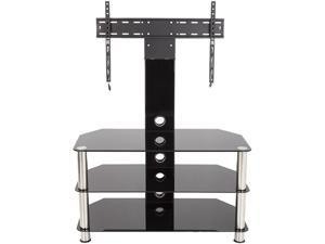 """AVF SDCL900-A Stand with TV Mount for TVs up to 60"""", Black Glass, Chrome Legs"""