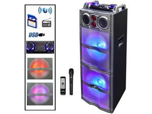 BeFree Sound BFS-5501 Double Subwoofer Bluetooth Portable Party Speaker with Reactive Lights, USB/SD Input, FM Radio, Remote Control and Microphone