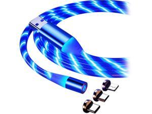 LED Flowing Magnetic Charger Blue Cable Light Up Candy Moving Party Shining Charger Phone Charging Cable Magnetic Streamer Absorption USB Snap Quick Connect 3 in 1 USB Cable