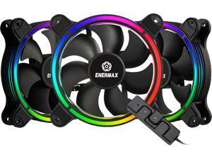 Enermax T.B. RGB AD 4-Ring Addressable RGB sync 120mm Fan Halo-Arc shape, 3 Fans PK, Black, UCTBRGBA12P-BP3