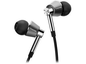 1MORE Triple Driver in-Ear Earphones Hi-Res Headphones with High Resolution, Bass Driven Sound, MEMS Mic, in-Line Remote, High Fidelity for Smartphones/PC/Tablet- Silver