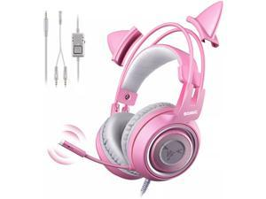 Somic G951s Pink Girls Cat Ear Gaming Headset with Microphone with 3.5mm for xBox One, Nintendo Switch, PS4, iPhone, iPadv Detachable Cat Ear Headphones Lightweight Self-Adjusting Over Ear Headphones