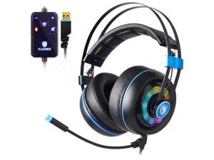 SADES Armor Gaming Headset Realtek Gaming Audio Immersive In Games Lightweight RGB Noise-Cancelling Headphones With Flexible Microphone For PC Gamers