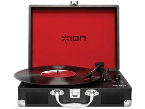 Ion Audio Vinyl Motion Portable Suitcase Turntable with Built-In Speakers, Black