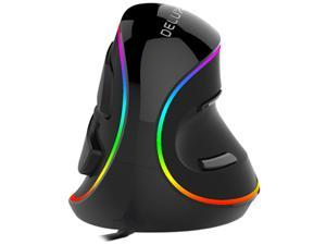 DELUX Wired Ergonomic Mouse, RGB Vertical Optical Mouse with 6 Programmable Buttons, 4000 DPI and Removable Palm Rest, Ergonomic Gaming Mouse Reduces Hand and Wrist Pain (M618PLUS RGB-Black)