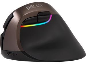 Delux Vertical Mouse Wireless, Ergonomic Small Mouse Rechargeable with Bluetooth and Nano Receiver, 6 Buttons and 4 Adjustable DPI Reduce Hand/Wrist Pain (M618mini-Jet Black)