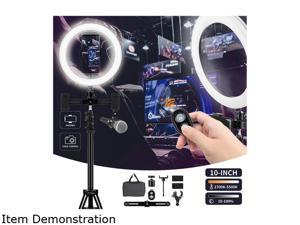 Furgle Camera Photo Video Lightning Kit: 10 inches/26 centimeters Outer 24W 5500K Dimmable LED Ring Light, Light Stand, Bluetooth Receiver for Smartphone, Youtube, TikTok Self-Portrait Video Shooting
