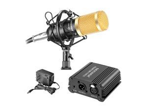 Neewer NW-800 Microphone & Phantom Power kit: (1) NW-800 Microphone + (1) 48V Phantom Power + (1) Power Adapter + (1) Shock Mount + (1) Anti-wind Foam Cap + (1) XLR Audio Cable + (1) Microphone Power