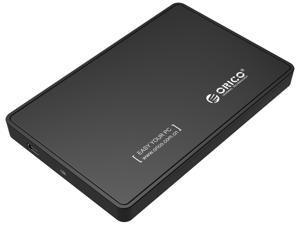 "ORICO Portable 2.5-inch SATA to USB 2.0 External Hard Drive Enclosure Case Standard SATA Micro B 2.5""7mm 9.5mm SSD/HDD Enclosure with USB 2.0 Cable -Black"