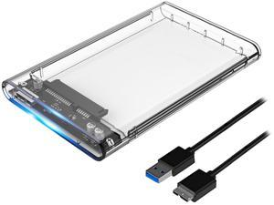 "ORICO 2.5"" Transparent USB 3.0 to SATA 3.0 External Hard Drive Disk Enclosure Box, USB 3.0 High-Speed Case for 2.5"" HDD / SSD, Case Support UASP Protocol SATA III Tool Free Up To 4TB"