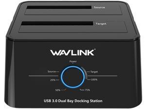 "Wavlink WL-ST334U USB 3.0 to SATA Dual Bay Hard Drive Docking Station for 2.5"" 3.5"" SATA HDD/SSD Storage Dock 2x8TB Hard Drive Enclosure, 5Gbps Data Transfer, UASP, Offline Clone / Duplicator"