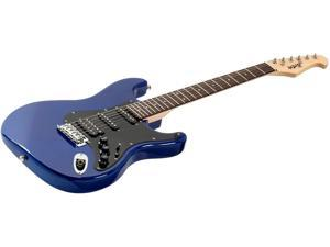 Monoprice Indio Cali Classic HSS Electric Guitar - Blue, With Gig Bag