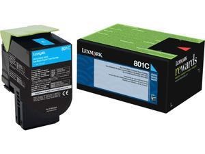Lexmark (801C) Cyan Return Program Toner Cartridge (1 000 Yield) 80C10C0