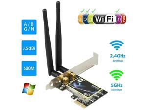 Vicabo SU-N600 802.11N PCI Express WiFi Adapter with 2x 3.5dBi External Antennas, Dual Band 2.4GHz/5GHz 600Mbps PCI-E Wireless Network Card for PC Desktop Computer, Supports Windows 10/8.1/8/7/XP