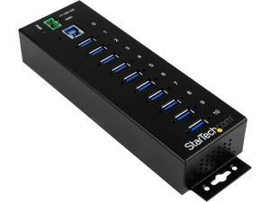 StarTech.com ST1030USBM 10 Port USB 3.0 Hub - Industrial - ESD and Surge Protection - DIN Rail or Surface Mountable - Metal - Powered USB Hub