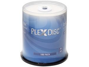 PlexDisc 4.7GB 8X DVD-R White Inkjet Hub Printable 100 Packs Disc Model 637-215-BX