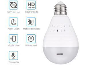 FirstPower Mini Wireless 1080P SPY Hidden IP Camera 360° Panoramic WIFI Control Light Bulb