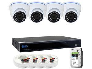 GW Security 8CH 4K NVR Network 5MP IP Security Camera System - (4) x 5MP Outdoor Dome Security Cameras, 8-Channel Plug and Play 5-In-1 DVR / XVR, Cloud service, Scan QR code to easy remote viewing