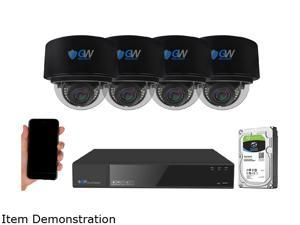 GW Security 8 Channel 4K NVR 8MP (3840x2160) H.265+ IP PoE AI Security Camera System with 4 UHD 4K 2.8-12mm Varifocal Zoom Outdoor/Indoor Dome Camera, Face Recognition, Intelligence Analytics
