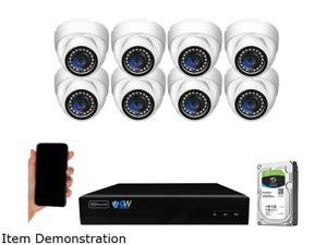 GW Security 8 Channel 4K NVR 5MP Smart AI Human Detection Security Camera System with (8) x IP PoE 5MP 1920P Outdoor/Indoor Microphone Dome Cameras 100 Feet Night vision, Free Remote Viewing