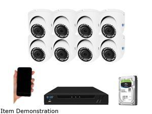 GW Security 4K 8 Channel NVR Security Camera System with 2TB HDD, 8 x 4K IP PoE 8MP Turret cameras, 100-Degrees Wide-angle, 100FT Night Vision