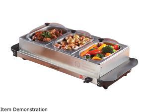 Brentwood BF-315 Triple Buffet Server w/ Warming Tray, Stainless Steel