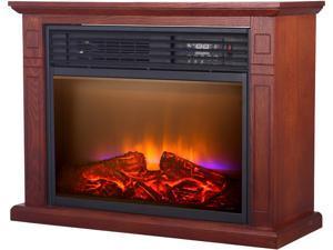 World Marketing QF4570R Comfort Glow 5200 BTU Quartz Mobile Electric Fireplace, Oak