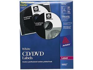 Avery Laser CD Labels Matte White 40/Pack 5692