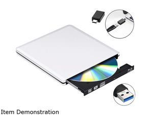 Wanmingtek External DVD CD Blu-ray Drive USB 3.0/USB-C BD 3D Blu-ray Player Portable DVD/CD-ROM BD-ROM Burner. High-Speed Data Transfer, Compatible with PC Laptops Desktops, Silver
