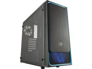 Cooler Master MasterBox E500L ATX Mid-Tower w/ Front Sliding Brushed Panel, Blue Accent Trim, Transparent Acrylic Side Panel and Blue LED Fans