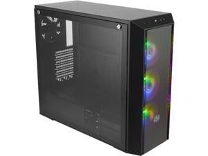 """Cooler Master MasterBox Pro 5 ARGB ATX Mid-Tower with Adaptable Layout E-ATX up to 10.5"""", DarkMirror Front Panel, Tempered Glass, Three 120mm ARGB Lighting Fans - Black"""