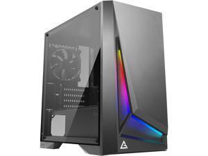 Antec Dapper Dark Phantom DP301M Black Steel / ARGB Lighting / Tempered Glass Side Panel Compact Micro-ATX Gaming Case