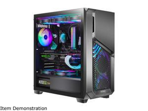 """Antec Dark League DP502 FLUX, Mid-Tower ATX Gaming Case, FLUX Platform, 5 x 120mm Fans Included, ARGB PWM Fans with Controller, 5.25"""" ODD Support, Tempered Glass Side Panel, Swing Open Front Panel"""