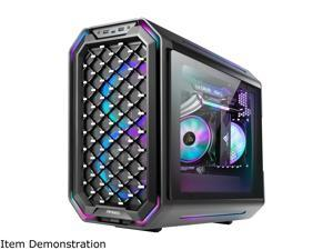 Antec Dark Cube, Dual Front Panels Included, Slide-Open Case Structure, Build-In LED Lighting Bars, Top GPU Showcase, USB3.1 Type-C Ready, Aerospace Standard Aluminum Alloy ITX Case