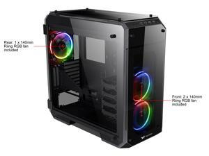 Thermaltake View 71 RGB 4-Sided Tempered Glass Vertical GPU Modular E-ATX Gaming Full Tower Computer Case with 3 RGB LED Riing Fan Pre-installed CA-1I7-00F1WN-01