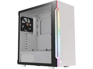 Thermaltake H200 Tempered Glass Snow Edition RGB Light Strip ATX Mid Tower Case with One 120mm Rear Fan Pre-installed CA-1M3-00M6WN-03