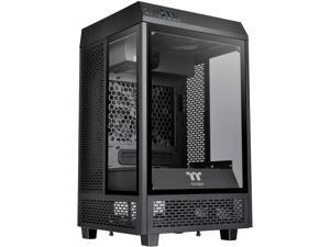 Thermaltake Tower 100 Black Edition Tempered Glass Type-C (USB 3.1 Gen 2) Mini Tower Computer Chassis Supports Mini-ITX, CA-1R3-00S1WN-00