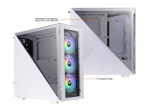 Thermaltake Divider 300 ARGB Snow Triangular Tempered Glass Type-C (USB 3.1 Gen 2) Water Cooling Ready ATX Mid Tower Computer Case with 3 120mm ARGB Rear Fan Pre-Installed, CA-1S2-00M6WN-01