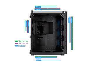 Corsair Crystal Series 680X RGB CC-9011168-WW Black Steel / Plastic High Airflow Tempered Glass ATX Smart Case