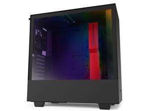 NZXT H510i - Compact ATX Mid-Tower PC Gaming Case - Front I/O USB Type-C Port - Vertical GPU Mount - Tempered Glass Side Panel - Integrated RGB Lighting- Water-Cooling Ready - Black/Red
